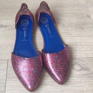 Jeffrey Campbell pink glitter flats